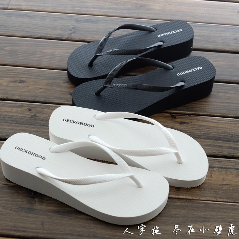夏季新款坡跟人字拖女厚底鬆糕涼拖鞋防滑沙灘拖鞋黑色時尚夾腳拖