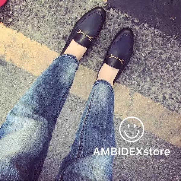 19年原厂头层牛皮纳百搭真皮Sam乐福女士鞋子一脚蹬真皮皮鞋单鞋