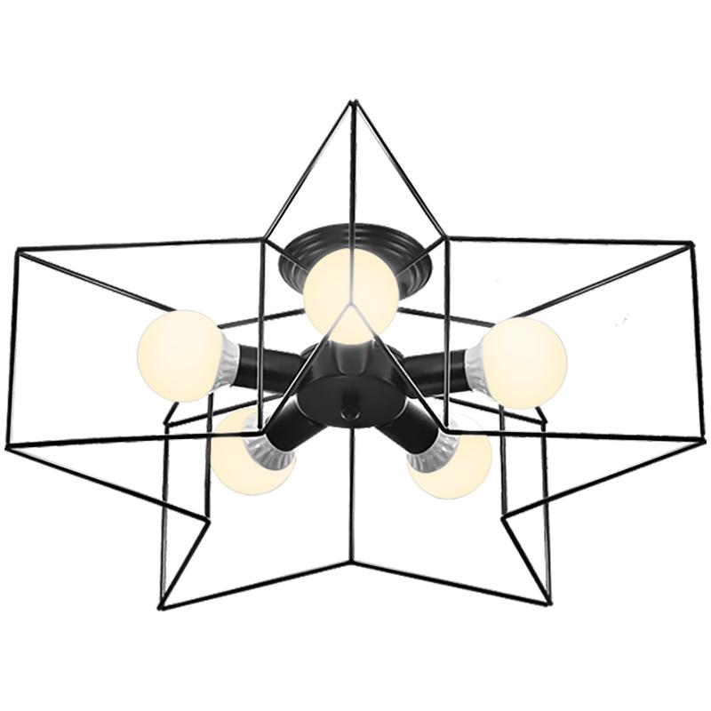 北欧简约五角星吸顶灯铁艺客厅灯吊灯儿童房卧室房间灯具餐厅灯饰