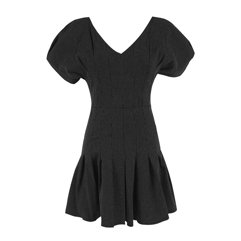 一衣三穿 波浪裙摆波点V领显瘦泡泡袖收腰连衣裙