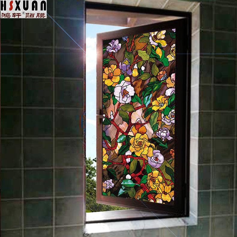 美式玻璃贴纸加厚磨砂玻璃贴窗花贴卫生间窗户浴室窗纸透光不透明 No.1