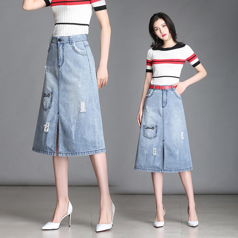 [淘寶網] 牛仔裙半身裙A字裙短裙薄款夏女2018牛仔裙中長款流蘇牛仔半身裙