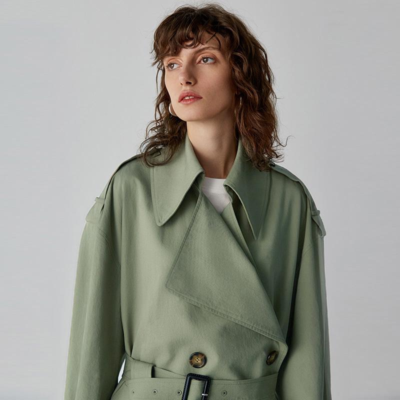 春秋季新款浅绿色风衣女中长款西装领绑带系带宽松英伦风外套 2018