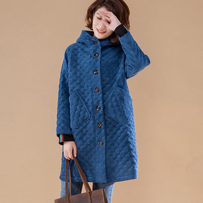 灯芯绒夹棉外套女秋冬新款大码休闲纯色长袖加厚保暖压花连帽棉服