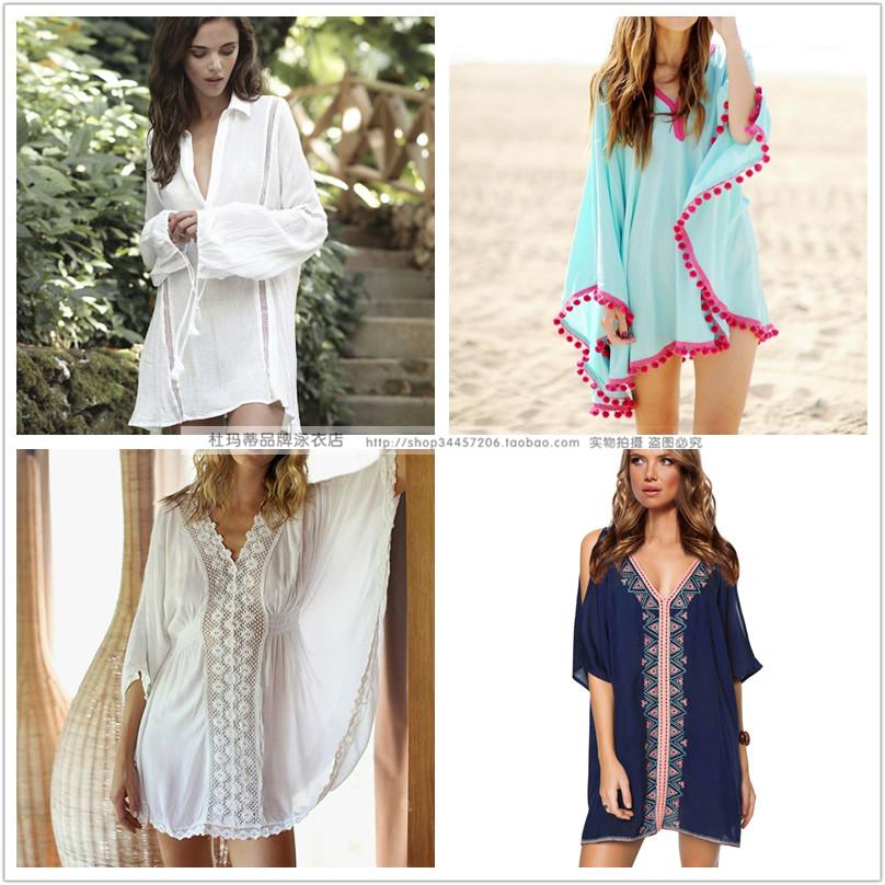 海邊度假寬鬆鏤空鉤花比基尼泳衣外套罩衫純棉防晒衣渡假沙灘裙女