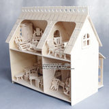 Wooden assembled building model DIY cottage house mini furniture play house three-dimensional assembly educational toys