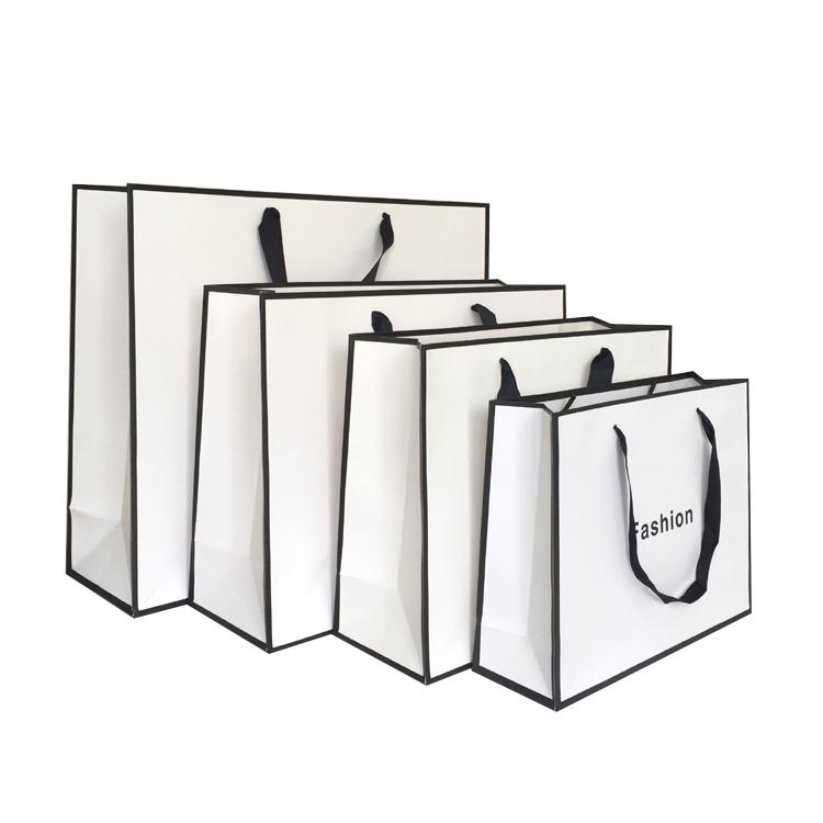 服装袋纸袋白色黑边时尚袋子购物袋礼品袋手提袋定做logo订制纸袋