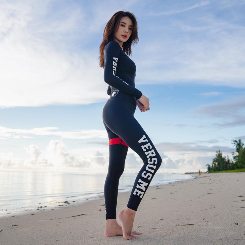 韩国VSME潜水服女水母衣浮潜泳衣长袖长裤防晒分体套装显瘦冲浪服