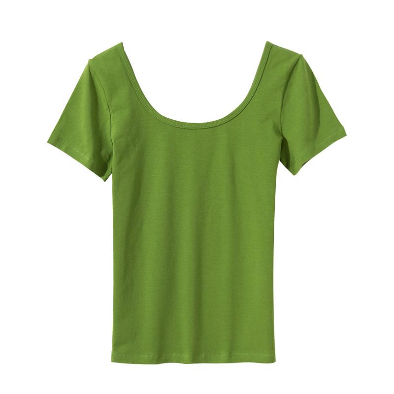 黑色u领露背短袖T恤女夏修身半袖大领口低领紧身打底体恤纯色上衣主图