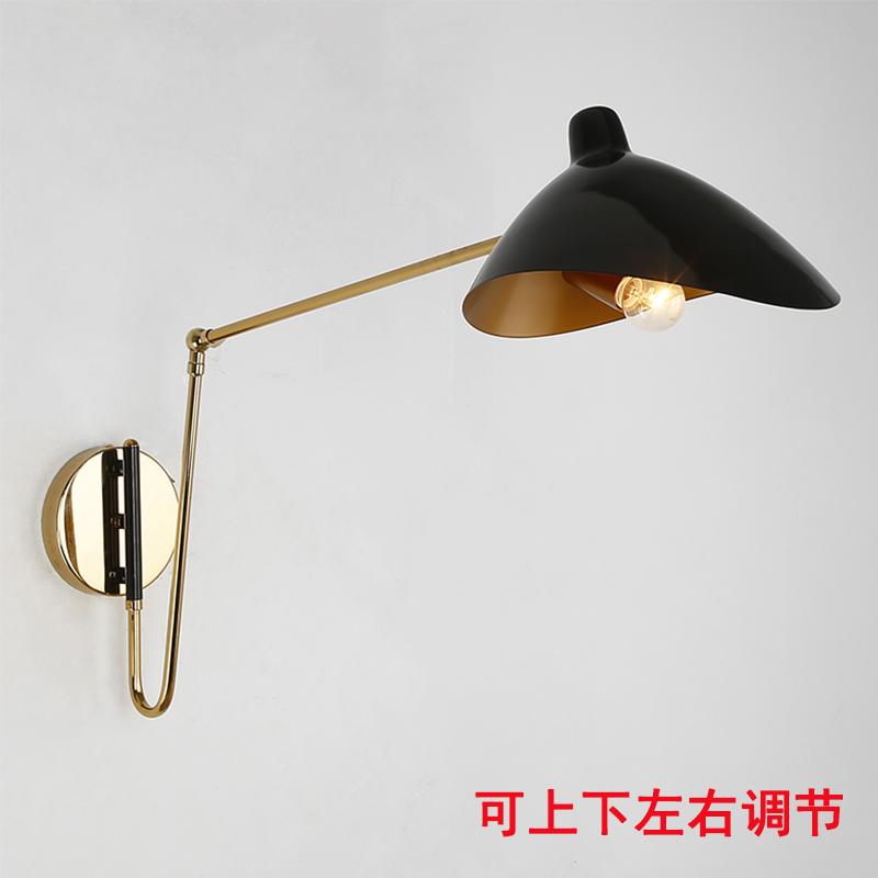 北欧工业风壁灯简约后现代可折叠伸缩长杆摇臂创意个姓卧室床头灯