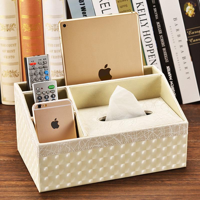 皮革多功能纸巾盒 茶几桌面遥控器收纳盒餐巾抽纸盒创意欧式客厅