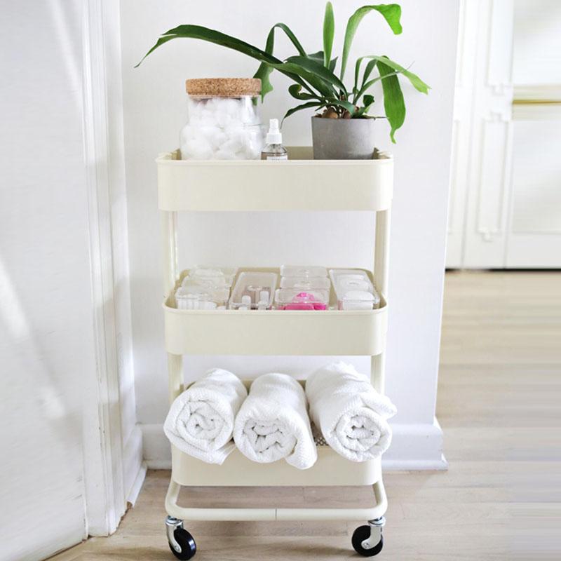 室宜三层厨房置物架拉斯克收纳架美容美发美容院小推车美甲工具车