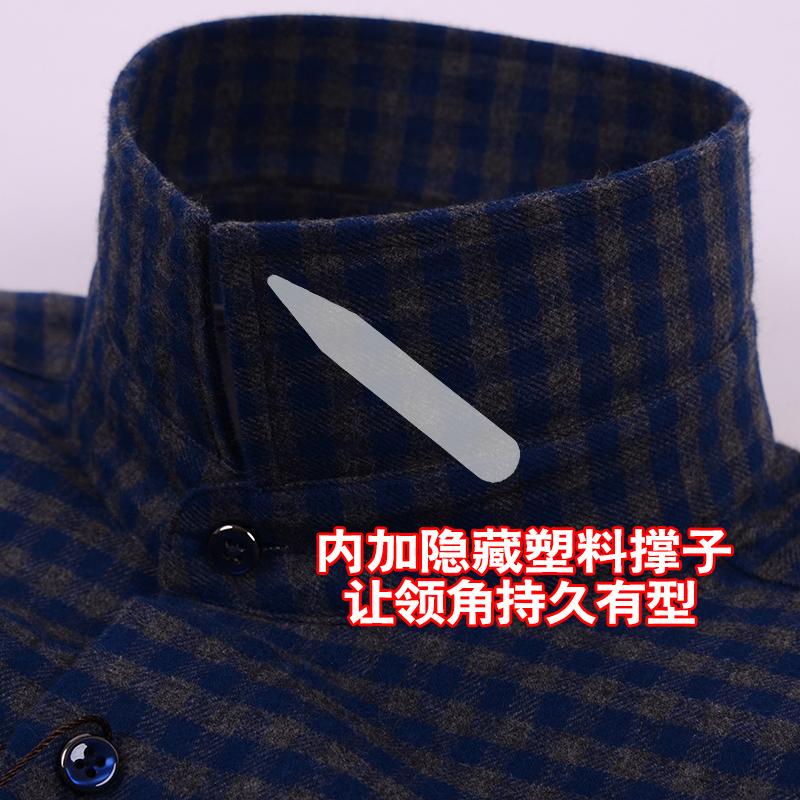 北极绒可拆卸内胆轻薄羽绒保暖衬衫男冬季加厚纯棉格子衬衣中老年