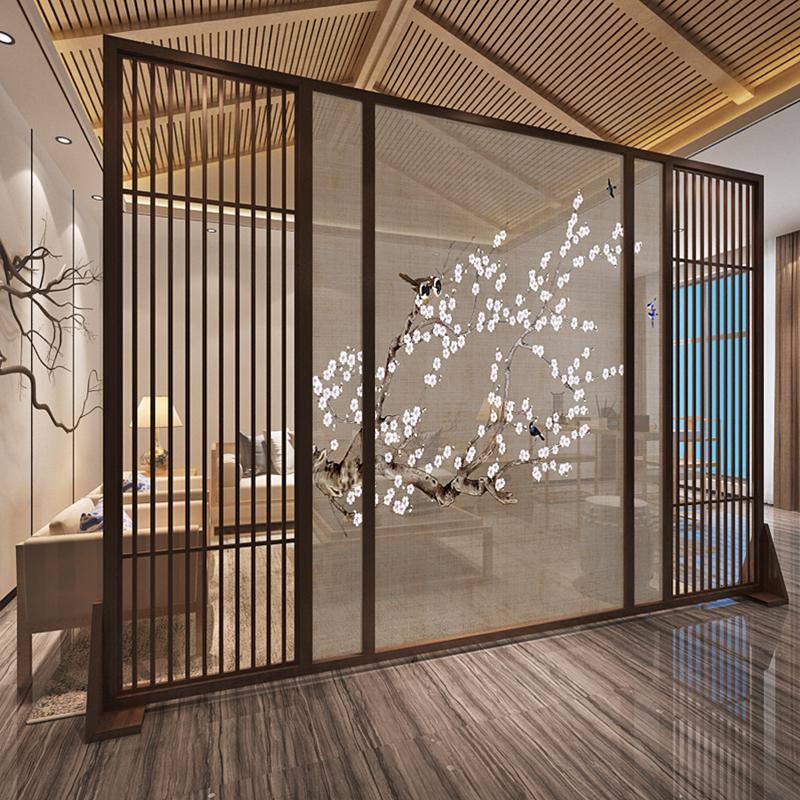 现代简约中式屏风玄关隔断客厅办公艺术时尚卧室实木座屏 梅花