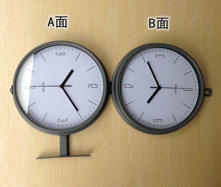 寸簡約雅致灰色雙面掛鐘現代時尚客廳家居鐘表金屬靜音時鐘熱賣 10