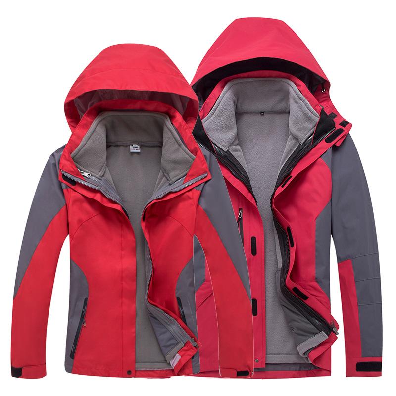 春秋冬季冲锋衣男女潮可拆卸两件套三合一户外登山服加厚大码防风