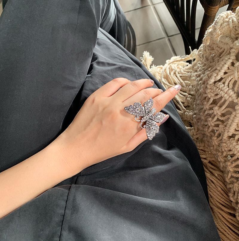 同款开口戒指 耳环 高级感复古镶钻蝴蝶耳钉 盘它 STYLE BAO