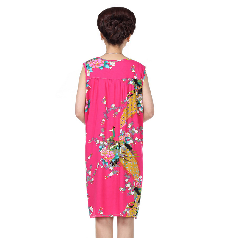 新款中老年女装夏装连衣裙睡衣裙大码妈妈装棉绸睡裙休闲家居服