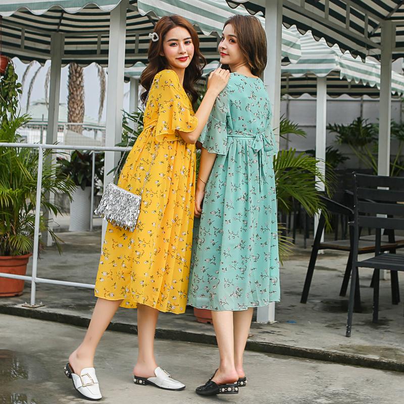 新款孕妇装夏装新款连衣裙长裙小碎花雪纺连衣裙 2019