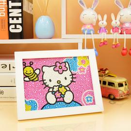 儿童钻石贴画kt猫满钻全贴小学生点钻画男孩女孩玩具卡通公主带框
