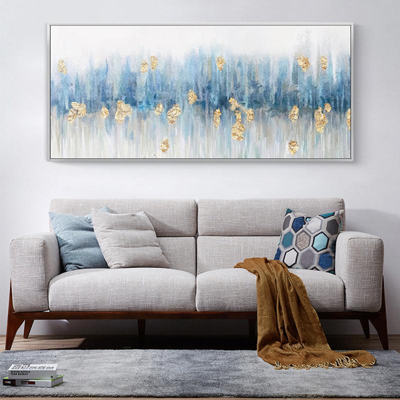 手繪油畫客廳抽象金箔花卉沙發背景墻裝飾畫酒店餐廳輕奢橫版掛畫