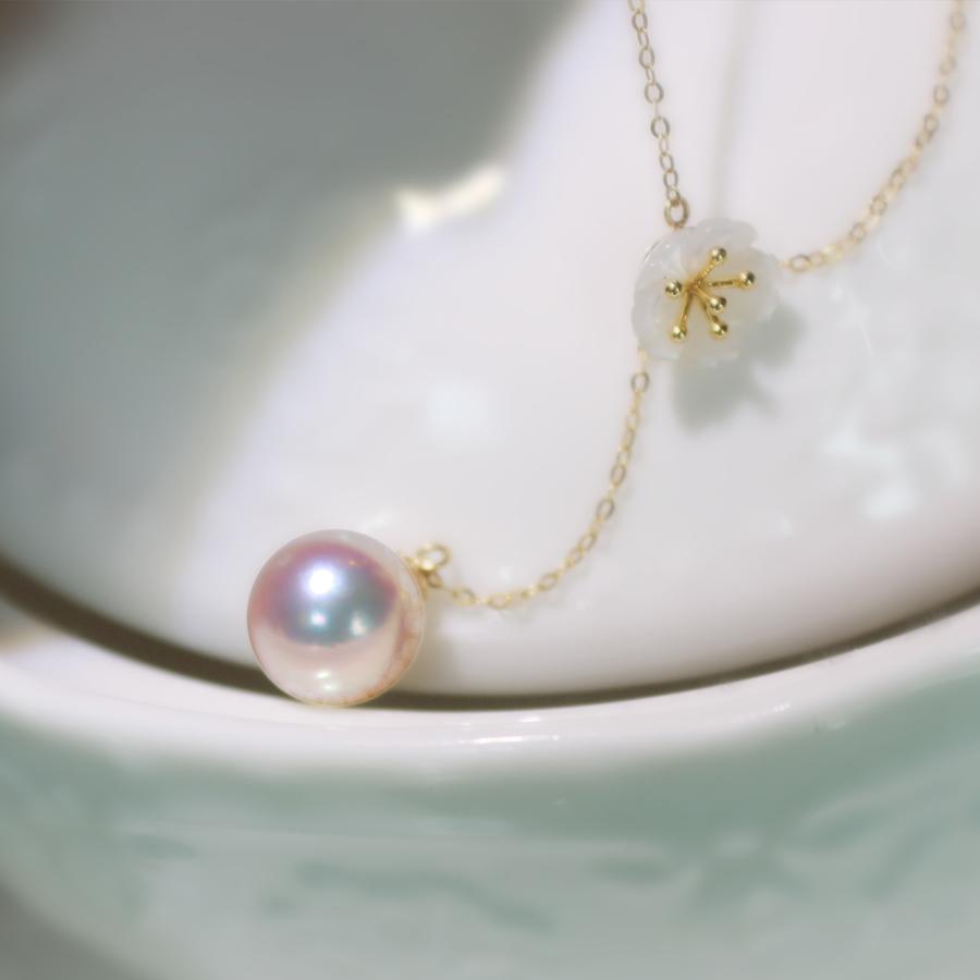 『美美的花蕊』进口天女akoya珍珠18K金天然海水珍珠吊坠锁骨链