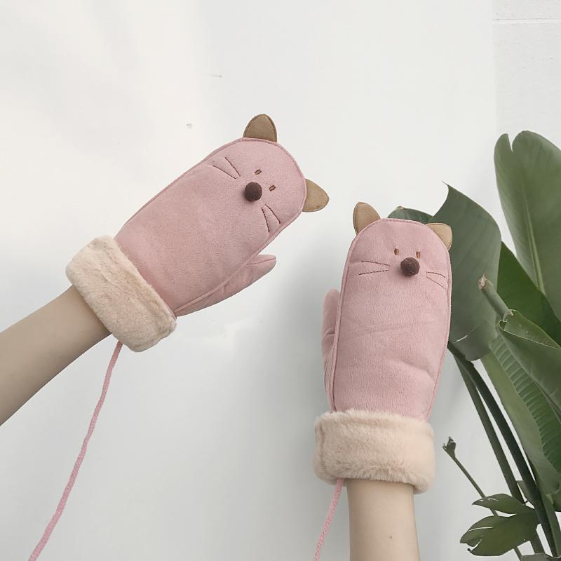 手套女冬季可爱韩版卡通挂脖学生麂皮包指加厚骑行保暖防风手套潮