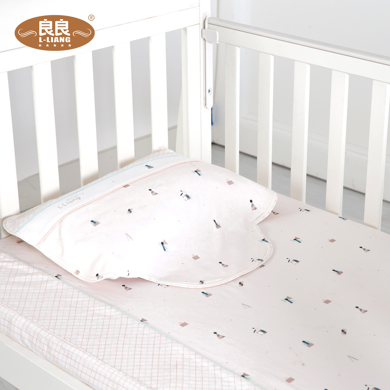 良良 全棉婴儿四季床品两件套 幼儿园新生儿宝宝床笠+枕巾2件套