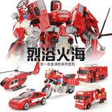 Alloy version of the deformed robot children's toy model boy police car aircraft fire truck body car man King Kong