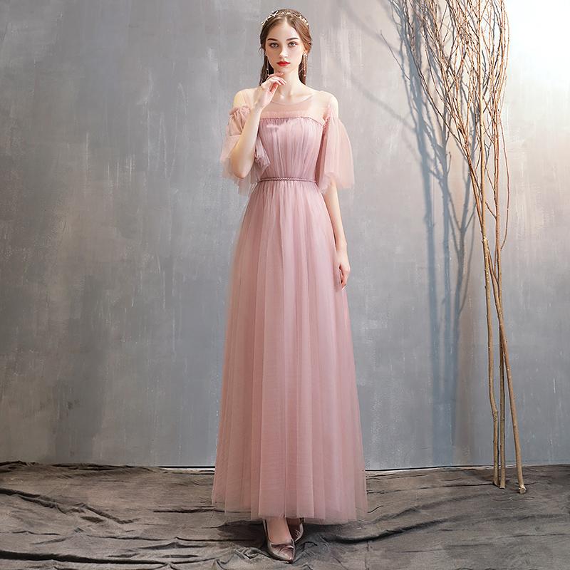 伴娘服女2019新款夏季韩版粉色一字肩姐妹团仙气质宴会显瘦晚礼服