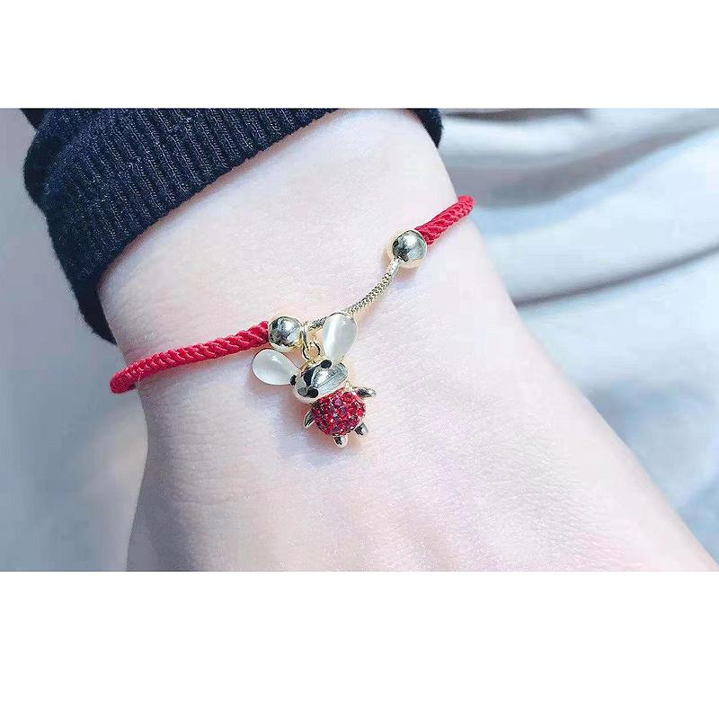 鼠年新年红绳手链女韩版闺蜜本命年小红绳学生简约个姓手工编织绳