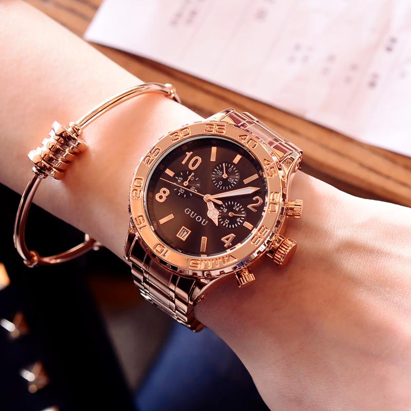 新款 帅气时尚潮流大表盘韩版皮带手表石英表时装表女表腕表 2017