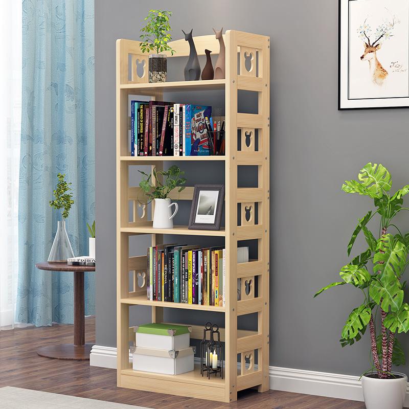 儿童实木简易书架置物架落地简约现代多层客厅家用组装学生小书柜