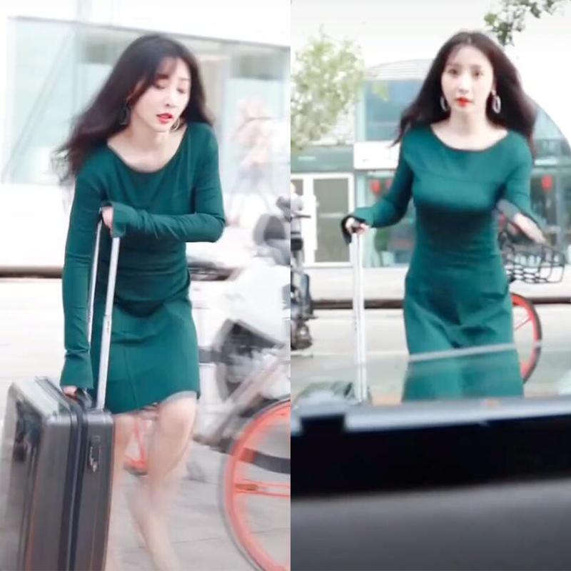 柳岩抖音同款绿色长袖连衣裙时尚气质收腰显瘦女神范2019早秋新品