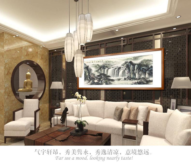 中式客厅办公室手绘水墨有框画