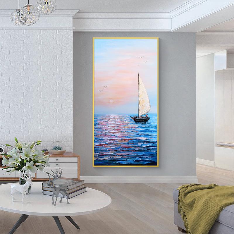 纯手绘油画抽象玄关客厅现代简约装饰画走廊过道竖版挂画一帆风顺