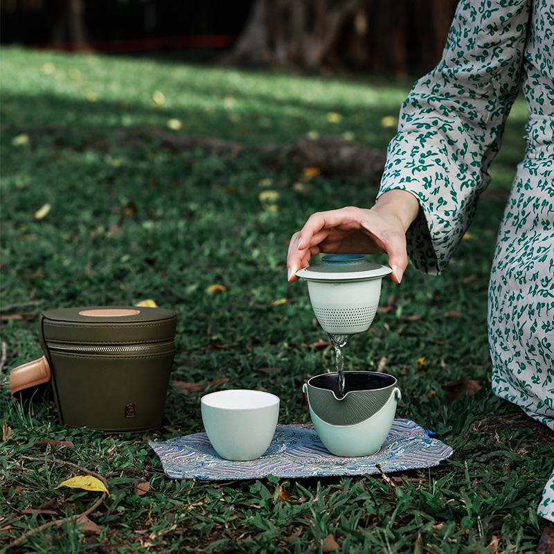 万仟堂快客杯一壶二杯清欢户外便携式套装陶瓷丛林釉旅行功夫茶具
