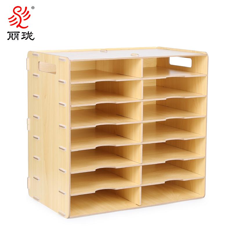 多层A4文件架子桌面办公用品木质文件收纳柜加厚档案资料分类架