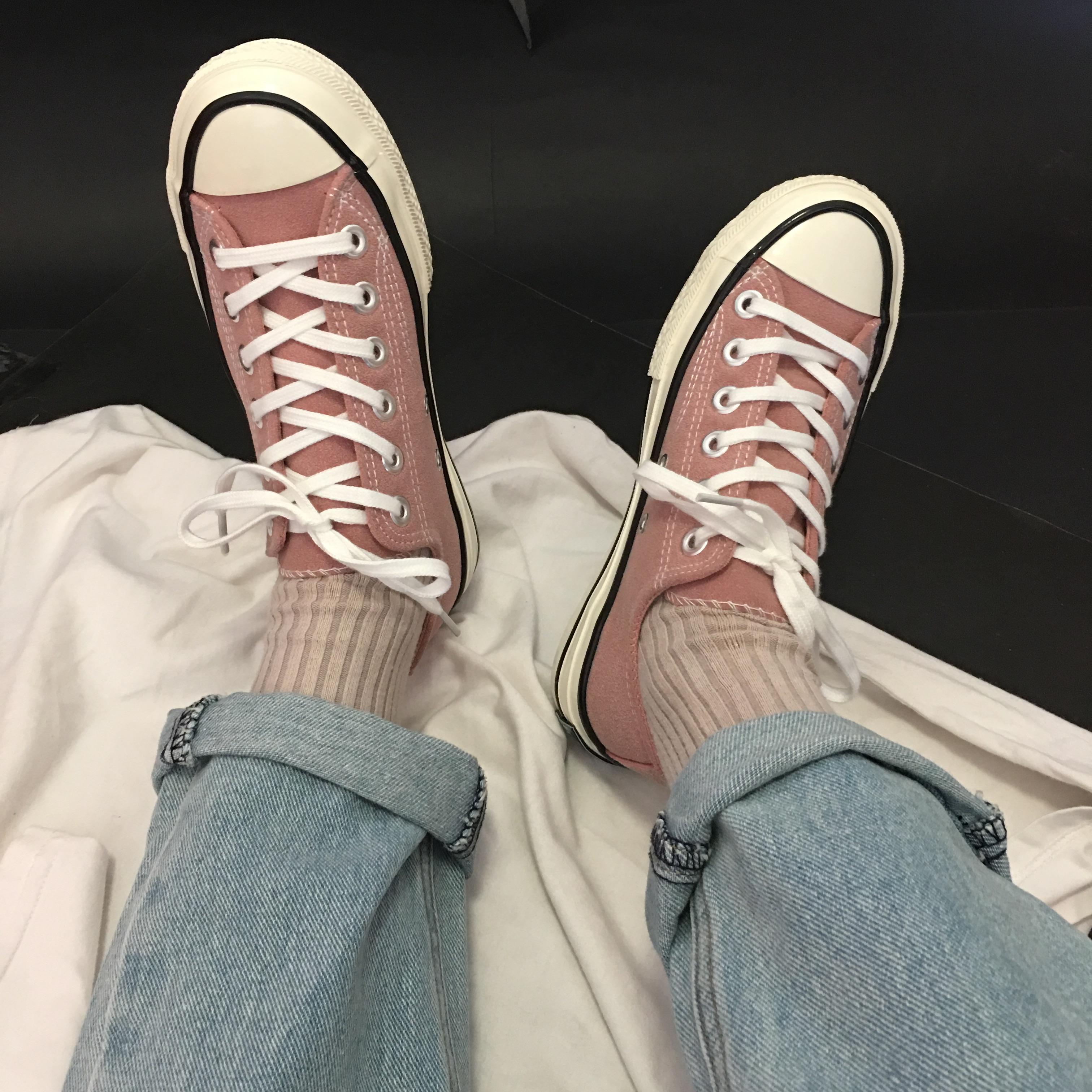 夏季新款甜美豆沙色帆布鞋情侣鞋女学生韩版ulzzang百搭休闲鞋男
