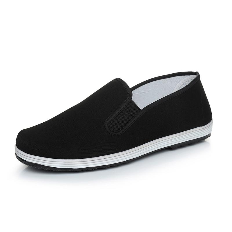 老北京布鞋男士一脚蹬懒人透气黑工作休闲秋冬季棉鞋帆布加绒布鞋高清大图
