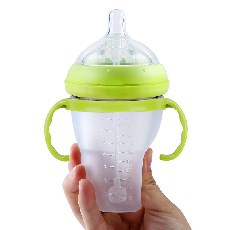 可以捏的奶瓶全硅胶奶瓶宝宝防胀气奶瓶防摔防呛断奶神器婴儿用品