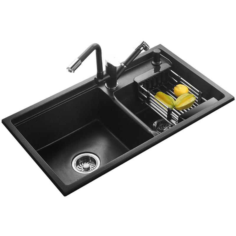 石英石水槽大双槽家用黑白色台上下加厚厨房洗菜盆套装洗碗槽水池