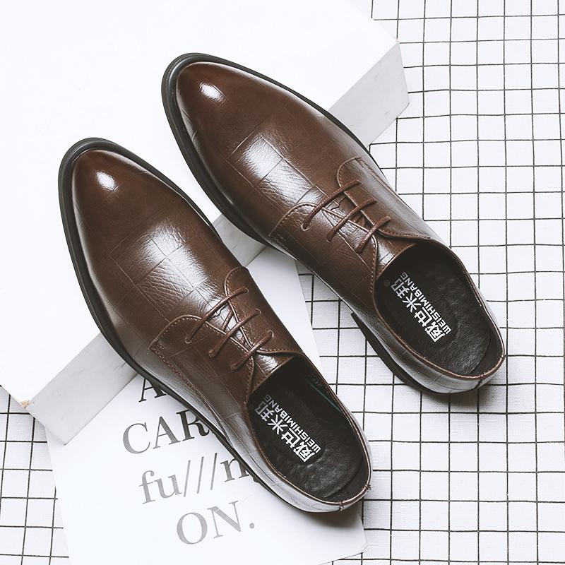 秋季透气男鞋韩版英伦黑色潮鞋子休闲商务正装皮鞋男士尖头内增高高清大图