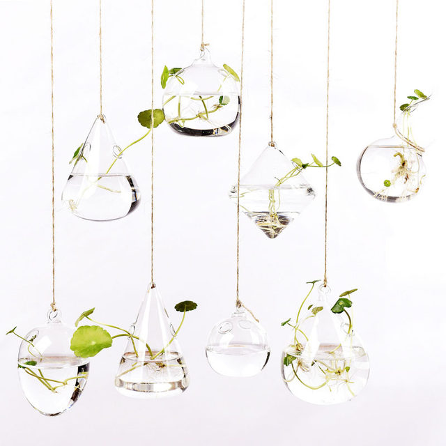 Creative hanging transparent glass vase small hanging bottle hydroponic flower indoor gardening home decoration bottle plant set