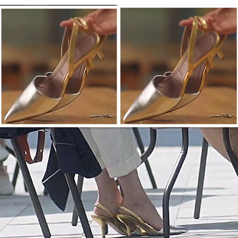 三十而已江疏影王漫妮同款鞋简约银色尖头高跟鞋女后绊带包头凉鞋