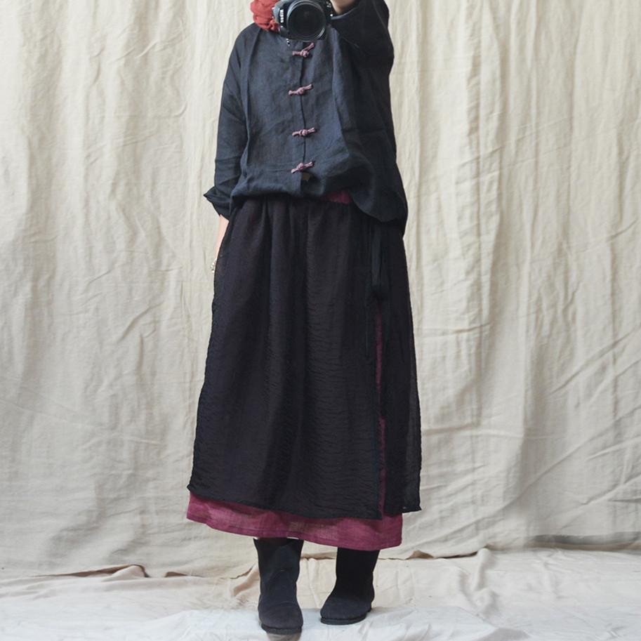 中式唐装茶服 原创苎麻文艺复古盘扣衬衫女9分袖薄夏宽松开衫上衣