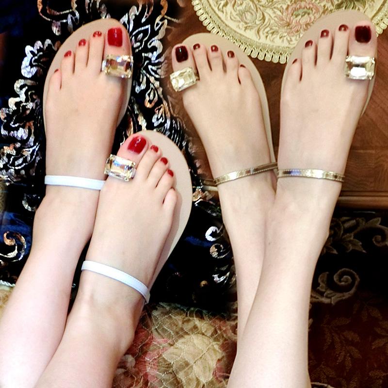 夏季新款夾腳夾趾平跟涼鞋外穿jill大姐姐同款平底沙灘涼拖鞋水鑽