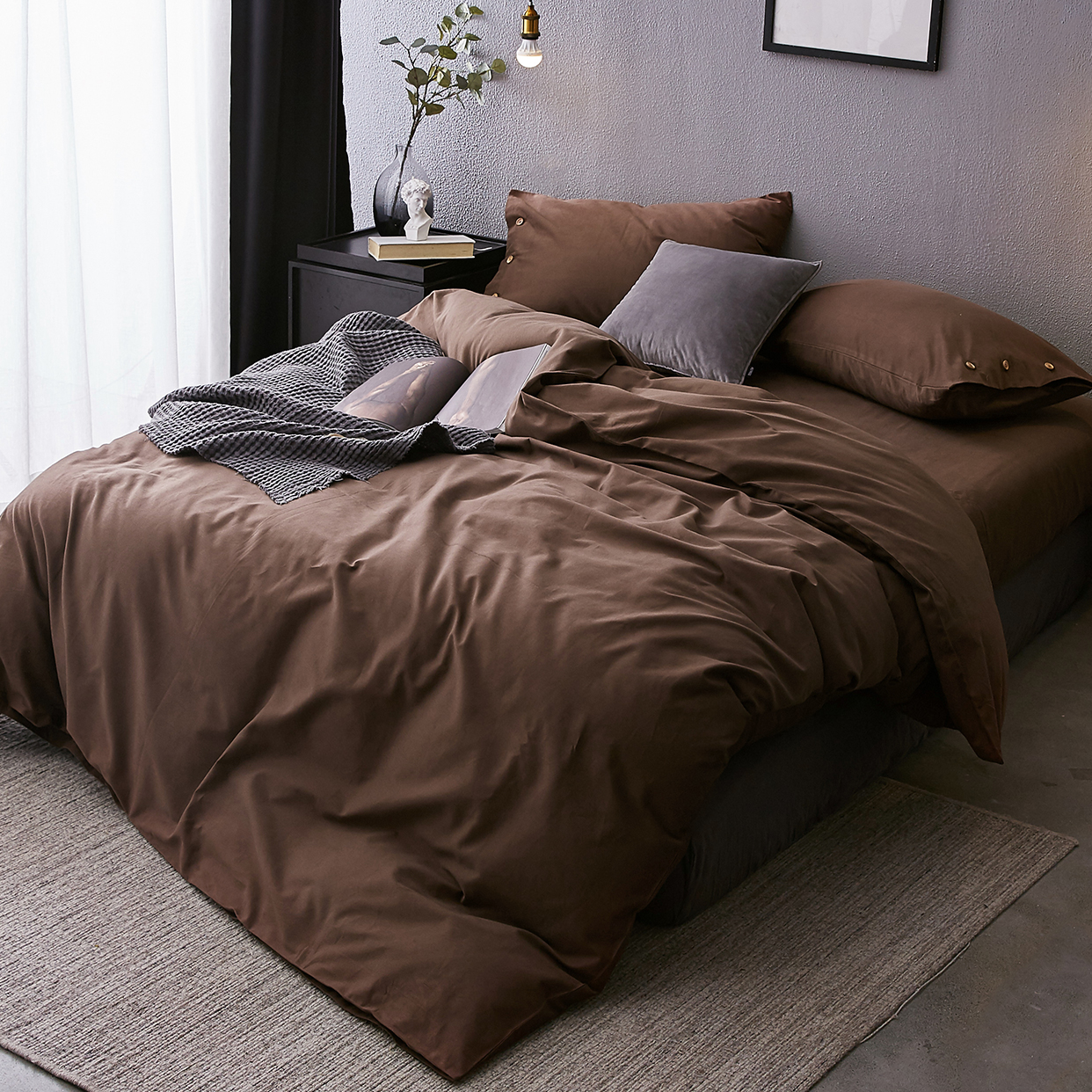 床上用品 1.8M 米 1.5 简约秋冬季保暖拉绒 小井家磨毛纯色全棉四件套
