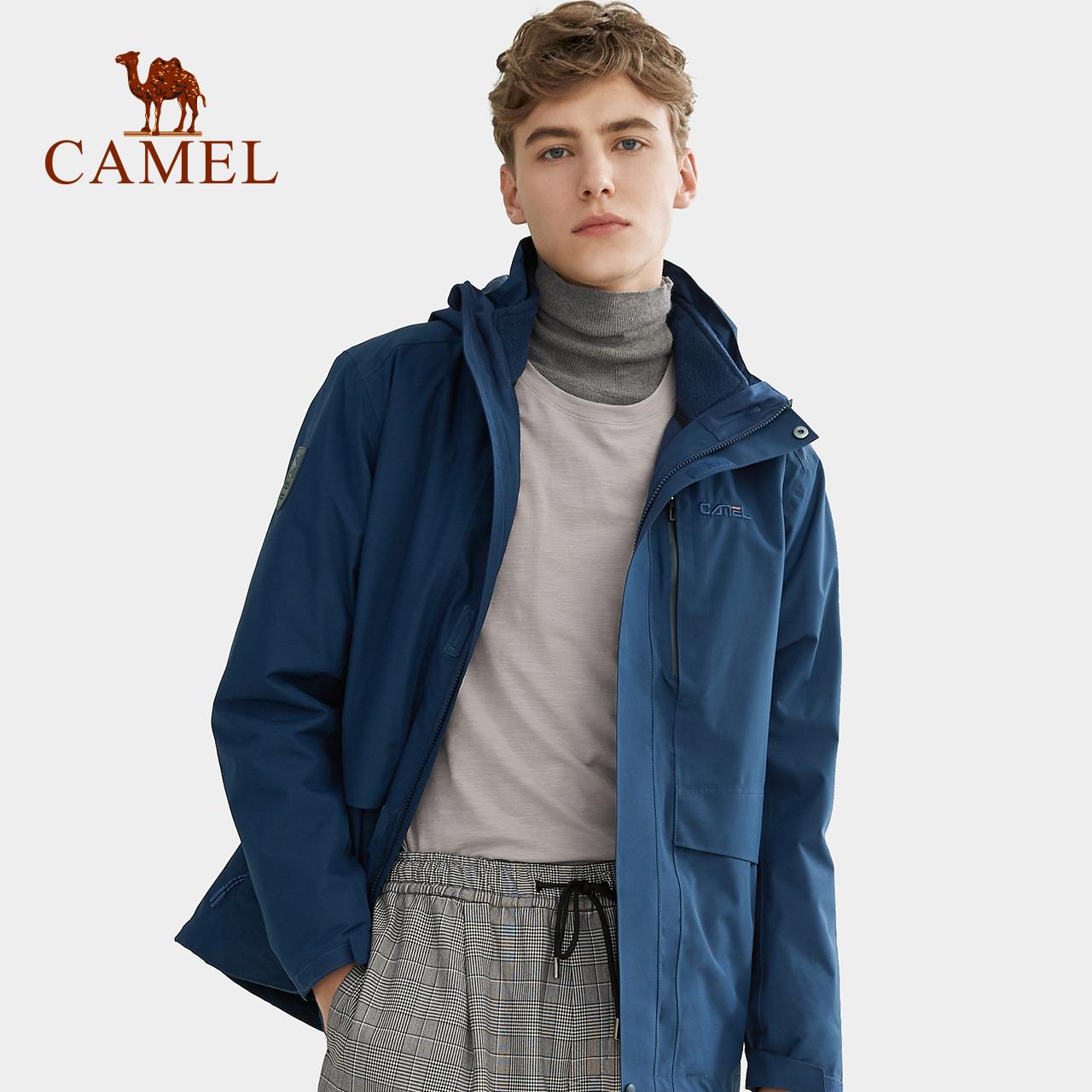 骆驼户外冲锋衣男女 年潮牌加绒加厚三合一两件套防风旅行外套  2019