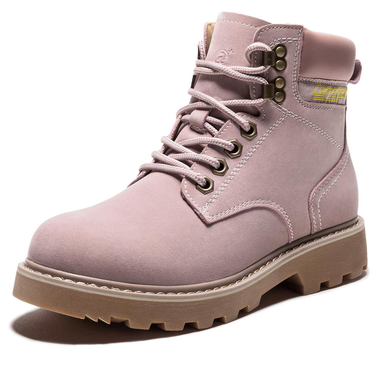 骆驼女鞋马丁靴女工装靴高帮保暖时尚百搭舒适防滑系带休闲工装鞋
